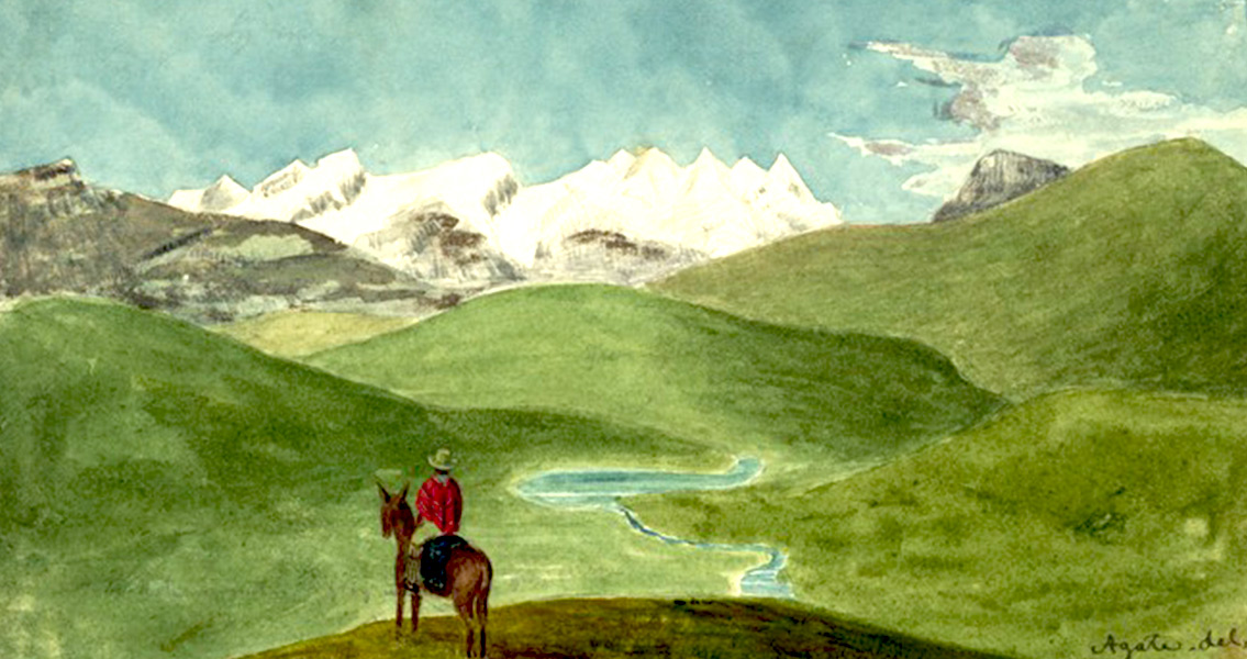 A painting of Peruvian Andes