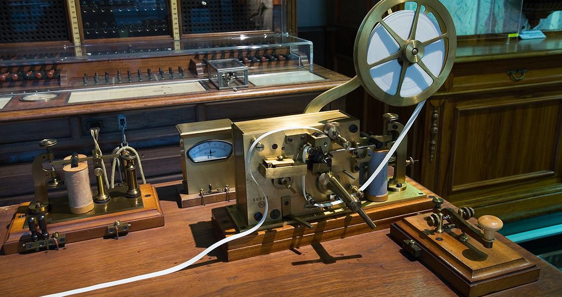 Morse Demonstrates Telegraph Machine