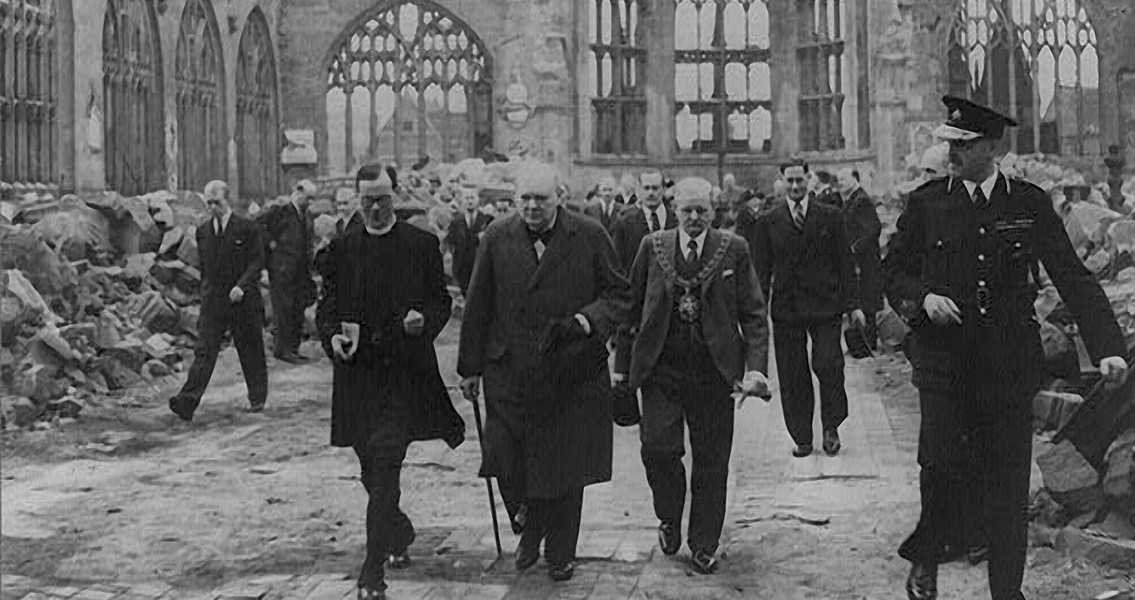 Winston Churchill Walks Through the Ruins of Coventry Cathedral