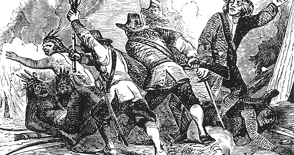 English Colonists Massacre a Pequot Village