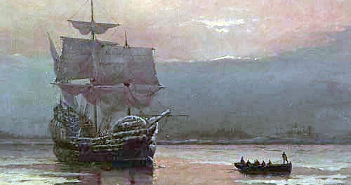 Mayflower Pilgrims Reach Plymouth Harbour