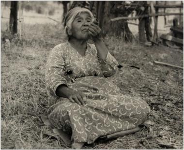Yokuts Woman Smoking Pipe